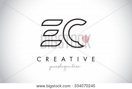 Ec Letter Logo Design With Creative Modern Trendy Typography And Black Colors.