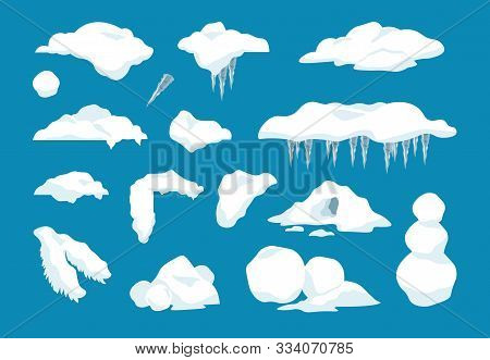 Cartoon Snow Caps. Frozen Drips And Transparent Icicles With Snowballs And Snow Drifts, Winter Decor