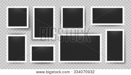 Realistic Photo Frames. 3d Blank Album Snapshot With White Frame On Transparent Background. Vector R