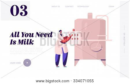 Milk Factory Production Website Landing Page. Industrial Worker Machinery Technology, Manufacture, I