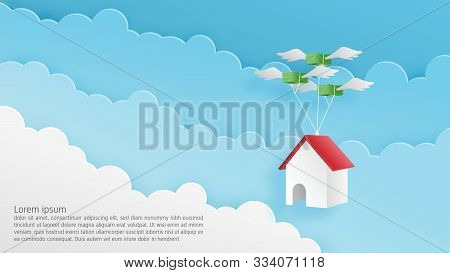 Paper Craft Origami Made Home Hanging On Flying Money In The Sky. Vector Art And Illustration Busine