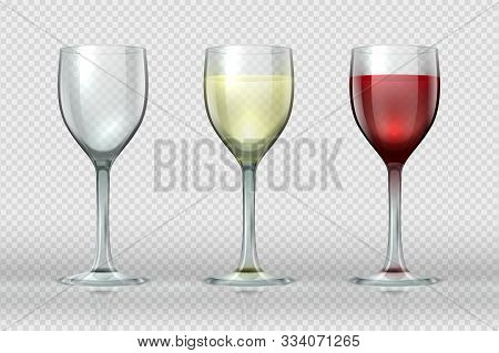 Realistic Wine Glasses. Wineglass With Red And White Wine For Gourmets. 3d Empty Isolated Glass Cup