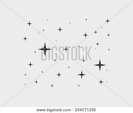 Sparkles Star Line Icons. Sparkle Black Pictogram Set, Falling Shooting Stars. Vector Sratdust Patte