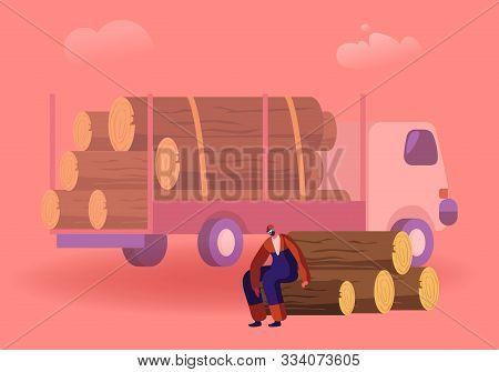 Woodcutter Having Break Sitting On Wooden Logs Pile In Forest Near Truck For Trees Transportation. W