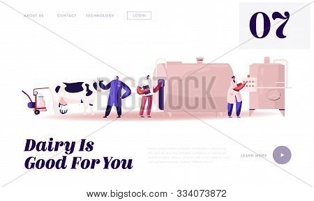 Milk Production Manufacturing, Farm Industry Website Landing Page. Milking And Beverage Pasteurizati
