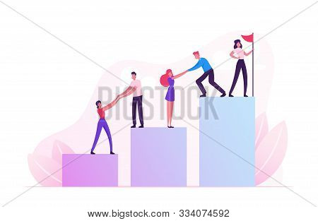Business Team Climbing Up Column Chart With Leader Stand With Hoisted Red Flag On Top. Businessmen P