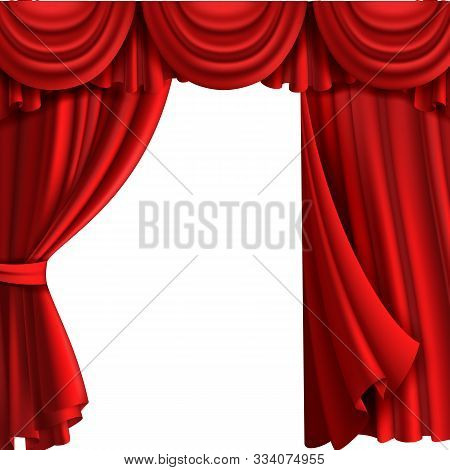 Curtain With Drape Stage. Theatre Fabric Red Curtains With Elegant Decor Drapes For Entertainment Vi