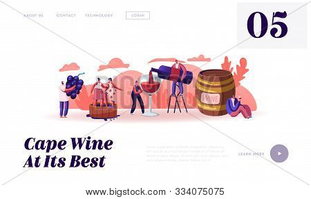 Wine Producing And Drinking Website Landing Page. Man With Bottle Pouring Alcohol Drink To Glass Cha