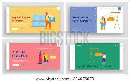 Global Maritime Logistic Website Landing Page Set. Shipping Port With Harbor Crane Loading Container