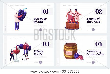 Winemaking Process And Degustation Website Landing Page Set. Winemaker Holding Grapes Bunch, Women S