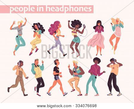 Young Stylish People Listening To Music In Headphones And Earphones Isolated. Multiethnic Group. Boy