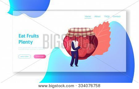 Strawberry Jam Website Landing Page. Young Tiny Man Standing At Huge Glass Jar With Fruit Marmalade