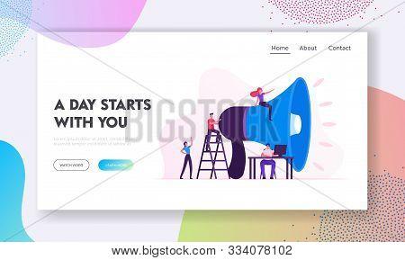 Social Marketing Website Landing Page. Characters Promoting In Social Networks Using Huge Megaphone.