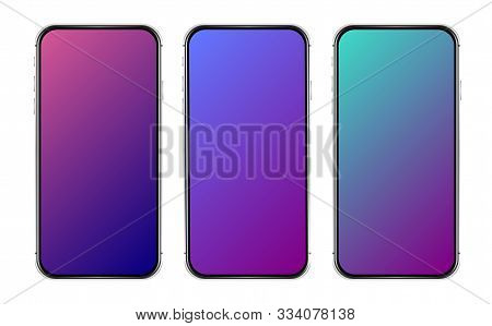Isolated Cell Phone. Vector Mobile Phone. Colorful Gradient Template. User Interface Design. Gradien