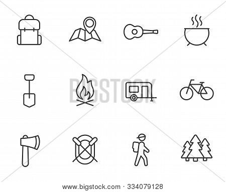 Camping Outline Flat Icons For Web And Ui Design. Summer Camping Outline Vector Icons Set Isolated O