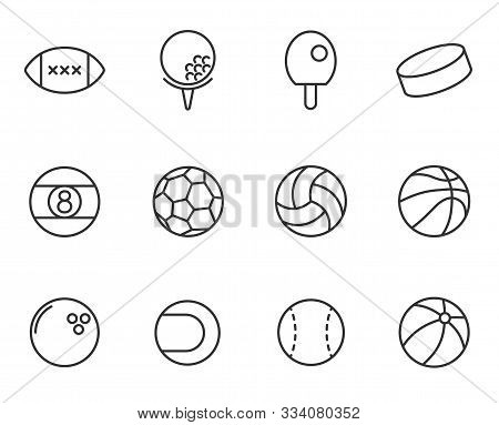 Sport Balls Outline Vector Icons Set Isolated On White Background. Sport Recreation Concept. Sport B