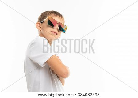 A Cool Little Blonde Boy With Sunglasses, Picture Isolated On White Background.