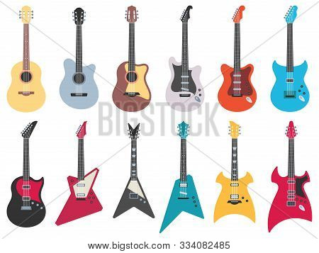 Flat Guitars. Electric Rock Guitar, Acoustic Jazz And Metal Strings Music Instruments. Musical Band