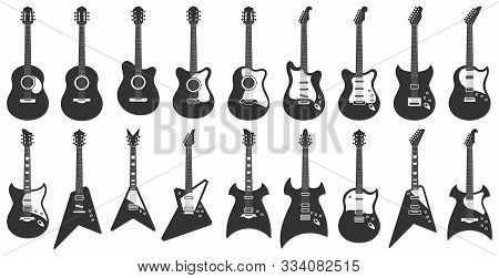 Black And White Guitars. Acoustic Strings Music Instruments, Electric Rock Guitar Silhouette And Ste