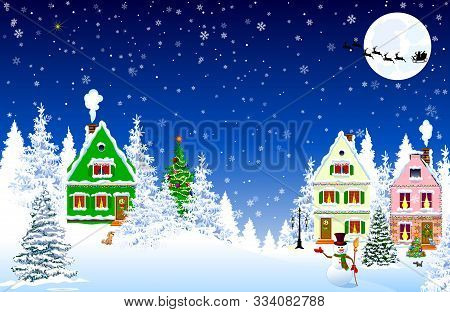 Houses, Village, Forest, Trees. Winter Rural Landscape. Christmas Eve Night. Snowflakes In The Night