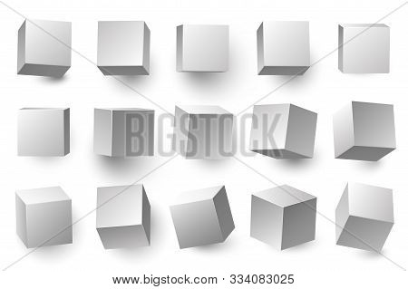 Realistic 3d White Cubes. Minimal Cube Shape With Different Perspective, Geometric Box Shapes. Medic
