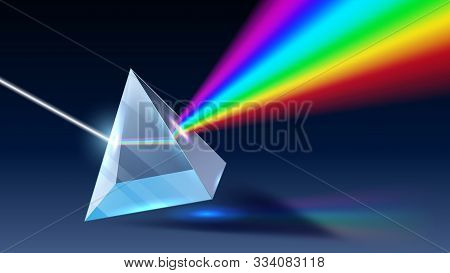 Realistic Prism. Light Dispersion, Rainbow Spectrum And Optical Effect. Physics Optics Ray Refractio