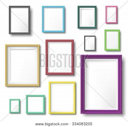 Realistic Color Photo Frame. Rectangular Picture Frame Hanging Wall With Realistic Shadow, Square Bo