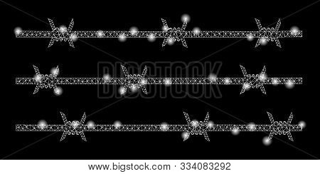 Glowing Mesh Barbwire Fence With Lightspot Effect. Abstract Illuminated Model Of Barbwire Fence Icon