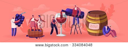 Wine Producing And Drinking Concept. Man With Bottle Pouring Alcohol Drink To Glass. Male And Female