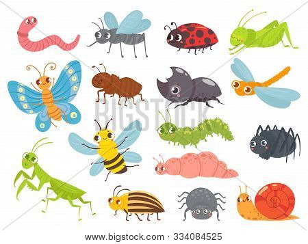 Cute Cartoon Insects. Funny Caterpillar And Butterfly, Children Bugs, Mosquito And Spider. Green Gra