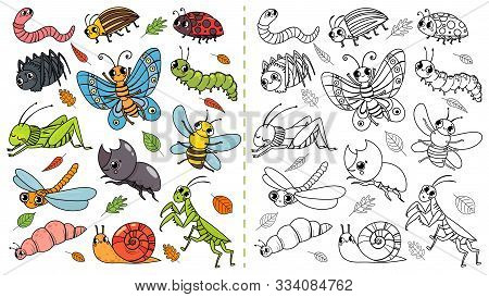 Cartoon Insects Color Painting Game. Draw Cute Insect With Kids, Funny Bug, Worm And Caterpillar. Ch