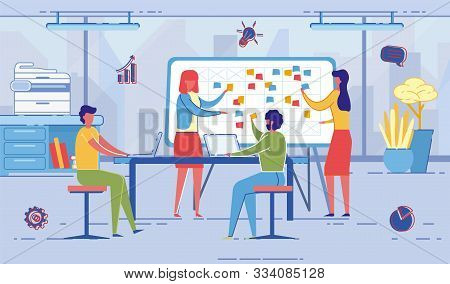 People At Work Cartoon Flat Vector Illustration. Project Manager Talking With Colleagues. Busineswom