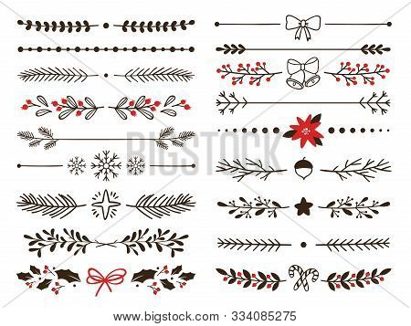 Hand Drawn Ornamental Winter Dividers. Snowflakes Borders, Christmas Holiday Decor And Floral Ornate