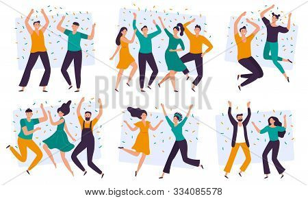 Joyful People. Cheerful Couple, Happy Team Celebrating Together And Group Of Smiling People. Excited