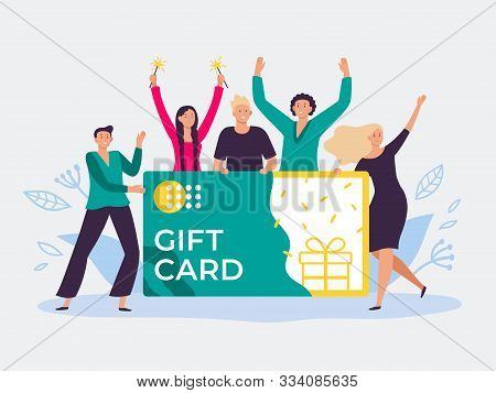 Gift Card Voucher. Gift Certificate, Discount Cards For Customers And Happy People Hold Gift Coupon.