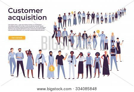 People Crowd Stand In Queue. Business People Standing And Waiting In Long Line. Businessman Shop Cro