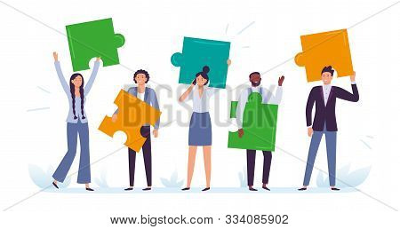 Business Team With Puzzle Pieces. Office Workers Solve Puzzle, Employee Cooperation And Teamwork Com