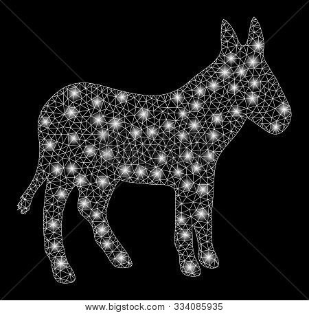 Glowing Mesh Donkey With Lightspot Effect. Abstract Illuminated Model Of Donkey Icon. Shiny Wire Car