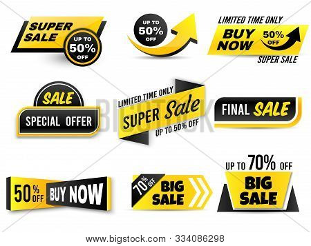 Sale Banners. Special Offer Banner, Low Price Tags And Super Sale Badges. Shopping Sales Offer Stick