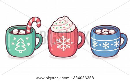 Christmas Hot Chocolate And Coffee Cup Set. Warm Seasonal Drinks With Candy Cane, Whipped Cream, Mar