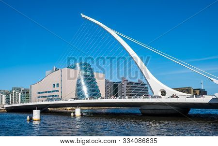 Dublin, Ireland, - April, 21, 2018: The Samuel Becket Bridge In Dublin, Ireland With The National Co