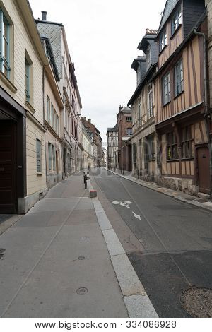 Empty Streets In The Historic Old Town Of Rouen In Normandy