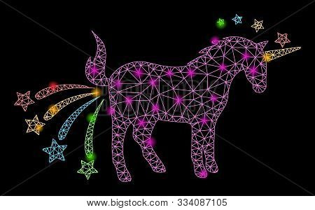 Bright Mesh Farting Unicorn With Lightspot Effect. Abstract Illuminated Model Of Farting Unicorn Ico