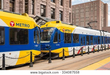 Minneapolis, Usa, - August, 13, 2019: The Metro Train That Runs In The Twin Cities Of Minneapolis An
