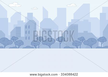 City Landscape, Modern Tall Buildings Of Downtown Or Business Area Along Highway With Trees. Citysca