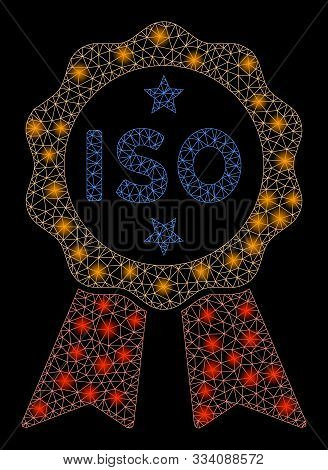 Bright Mesh Iso Certified With Lightspot Effect. Abstract Illuminated Model Of Iso Certified Icon. S