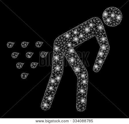 Glowing Mesh Man Diarrhea With Sparkle Effect. Abstract Illuminated Model Of Man Diarrhea Icon. Shin