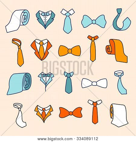 Stylish Colorful Neckwear Items Hand Drawn Illustrations Set
