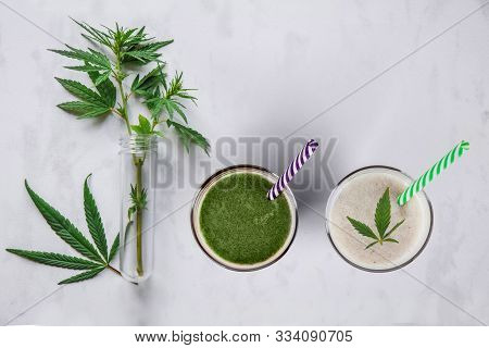 Concept Edibles Cbd And Drinks With Cannabis . Glasses With Fresh Beverage, Milk And Smoothies, With