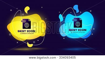Black Html File Document. Download Html Button Icon Isolated On Dark Blue Background. Html File Symb